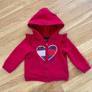 Tommy Hilfiger Sequin Heart Hoodie Red Girl 18 mo
